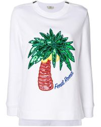 Fendi - Palm Embroidered Sweatshirt - Lyst