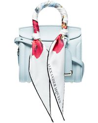 Alexander McQueen - Blue Leather Tote Bag With Scarf Detail - Lyst