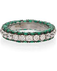 SHAY - 18kt White Gold, Diamond And Emerald 3 Sided Eternity Ring - Lyst
