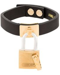 Ambush - Padlock Leather Bracelet - Lyst