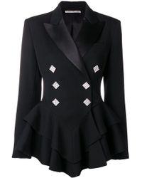 Alessandra Rich - Ruffle Crystal Button Wool Tuxedo Jacket - Lyst