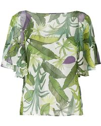 Liu Jo - Leaf Print Ruffle Blouse - Lyst