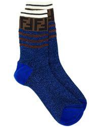 Fendi - Ff Motif Glitter Socks - Lyst