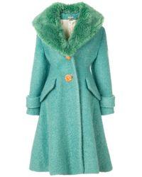 6fb4bbeb5cab Miu Miu - Fur Collar Coat - Lyst
