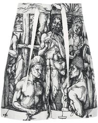 JW Anderson - Durer Scene Print Elastic Waistband Linen Shorts - Lyst
