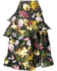 Preen By Thornton Bregazzi - Esta Floral Frilled Skirt - Lyst