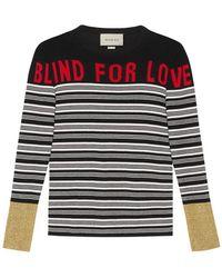 """Gucci - Maglione A Righe Con Applicazione """"blind For Love"""" - Lyst"""