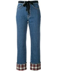Isa Arfen - Contrast Turn-up Jeans - Lyst