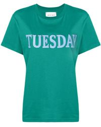 Alberta Ferretti - Embroidered Tuesday T-shirt - Lyst