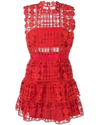 ec840c2ae2d89 Self-Portrait Off-the-shoulder Guipure-lace Dress in Red - Lyst