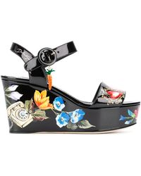 Dolce & Gabbana - Bianca Romantic Wedge Sandals - Lyst