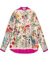 Gucci - Oversize Shirt With Flora Print - Lyst