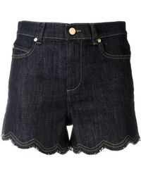 RED Valentino - Scalloped Denim Shorts - Lyst
