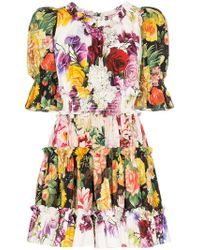 Dolce   Gabbana - Floral Print Puff Sleeve Cotton Mini Dress - Lyst 202f2e460