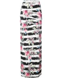 Nicole Miller - Striped Floral Print Skirt - Lyst