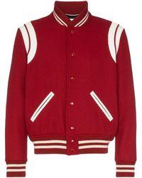 c220aef14c4 Saint Laurent Banded Teddy Varsity Jacket