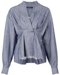 Derek Lam - Indigo Twill Wrap Shirt Jacket - Lyst