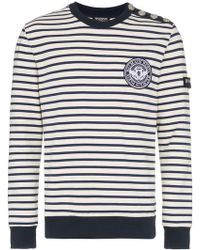 Balmain - Cotton Striped Button Embellished Jumper - Lyst