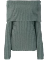 Theory - Off-shoulder Foldover Pullover - Lyst