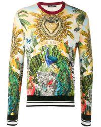 4ea31c95 Dolce & Gabbana Intarsia Knit Lion King Jumper in Green for Men - Lyst