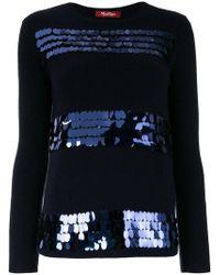 Max Mara Studio - Tamaro Embellished Wool-blend Jumper - Lyst