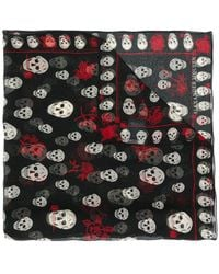 Alexander McQueen - Skull And Rose Print Scarf - Lyst