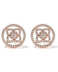 De Beers - 18kt Rose Gold Enchanted Lotus Openwork Diamond Stud Earrings - Lyst