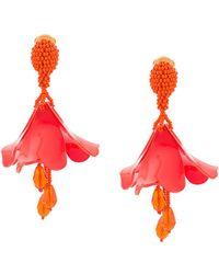 Oscar de la Renta - Petal Beaded Clip-on Earrings - Lyst