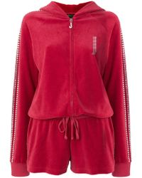 Juicy Couture - Swarovski Embellished Velour Romper - Lyst