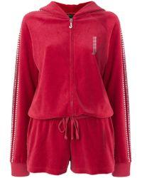 Juicy Couture - Swarovski Embellished Velour Romper - Lyst