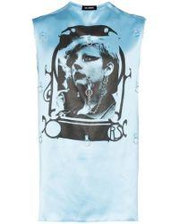 Raf Simons - Camiseta sin mangas estampada y con apliques - Lyst