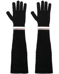 Prada - Stripe Trim Long Ribbed Gloves - Lyst