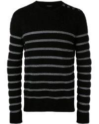 5a5b18e4bf Saint Laurent Drop Shoulder Crewneck Sweater In Anthracite Grey ...