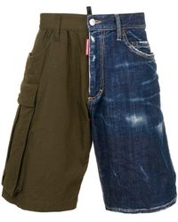 DSquared² - Two-tone asymmetric shorts - Lyst