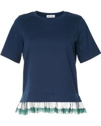 MUVEIL - Sheer Lace Trim T-shirt - Lyst