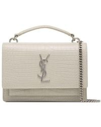 Saint Laurent - White Sunset Mock Croc Logo Cross Body Bag - Lyst 69e227d8d1893