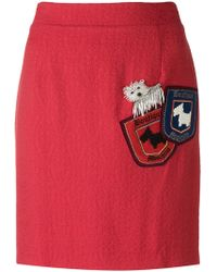 Boutique Moschino - Bead Embroidered Dog Pocket Skirt - Lyst