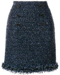 Karl Lagerfeld - Fringed Bouclé Skirt - Lyst