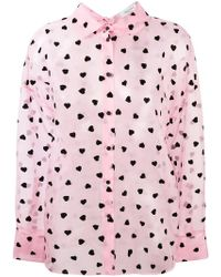 Valentino - Sheer Heart Print Shirt - Lyst