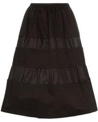 Marni - Tonal Stripe Cotton And Linen Skirt - Lyst