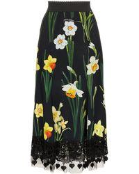Dolce & Gabbana - Printed Cady Skirt - Lyst