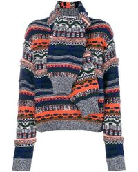 """Carven - """"sleeves scarf"""" knit sweater - Lyst"""