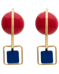 Marni - Red And Blue Resin And Metal Hook Earrings - Lyst