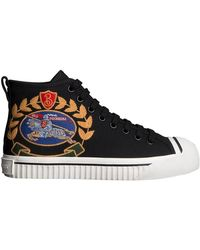 Burberry - Embroidered Archive Logo High-top Sneakers - Lyst