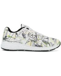 EA7 - Printed Lace-up Sneakers - Lyst