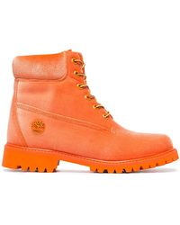 Off-White c/o Virgil Abloh - X Timberland Orange Velvet Boots - Lyst