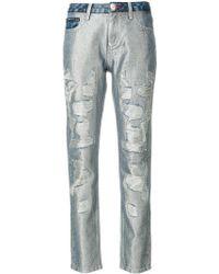 Philipp Plein - Glitter Distressed Boyfriend Jeans - Lyst