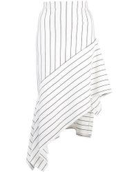 Rosetta Getty Asymmetric Striped Stretch-jersey Midi Skirt