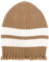 MSGM | Striped Frayed Knitted Beanie | Lyst