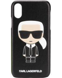dfec065b97af Fendi Karl Mink Detail Leather Iphone 6 Case in Black - Lyst